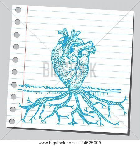 Heart with roots