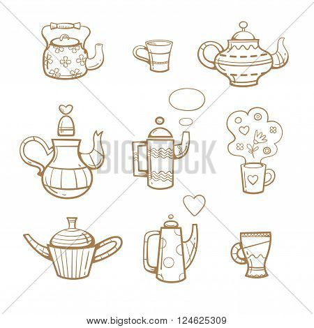 Cartoon teapots and cups set.  Various dishes. Herb and flower tea. Useful drinks. Vector image.