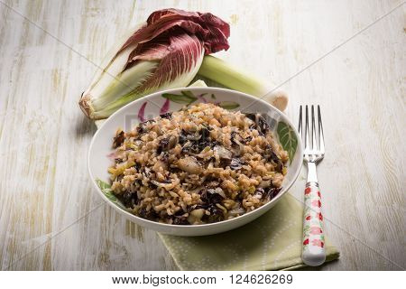 risotto with chicory and leek