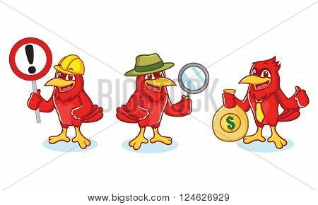 Cardinal Mascot with sign, detective and business