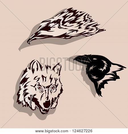 Wolf,raven,eagle tattoo - vector illustration. Set of pictures on a light background.