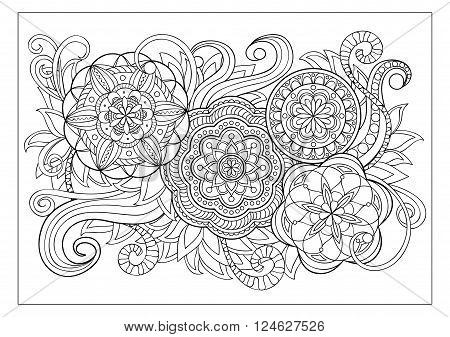Hand drawn decorated image with doodle flowers and mandalas. Image for adult coloring pages books embroidery. Vector illustration - eps 8.