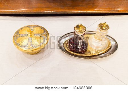Catholics Bread And Wine In Chalice On Altar