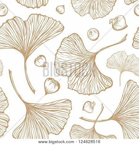 Gold ginkgo leaves on a white background. Vecror seamless pattern.