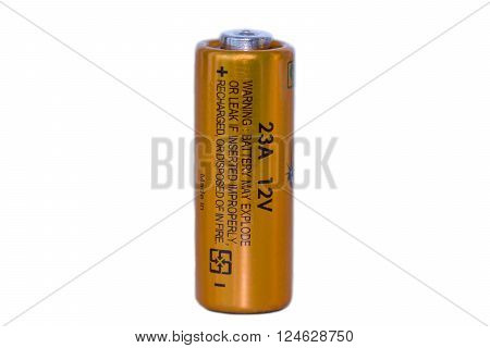 Battery 23A 12V isolated on a white background.