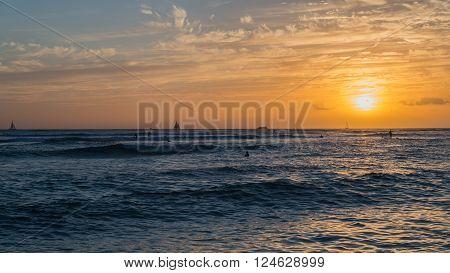 Sunset on the world famous Waikiki Beach