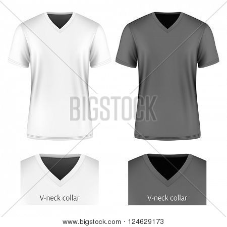 Men's short sleeve v-neck t-shirt (front view). Vector illustration. Fully editable handmade mesh.