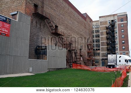 JOLIET, ILLINOIS / UNITED STATES - APRIL 12, 2015: Fire escapes are available for emergency exits in the back of the Rialto Theater in downtown Joliet.