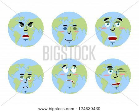 Earth emotions Set. Planet with cartoon face. Cheerful and angry globe. Surprise and sadness planet. Sleepy world. Collection of planet earth emoticons. Planet of solar system on white background