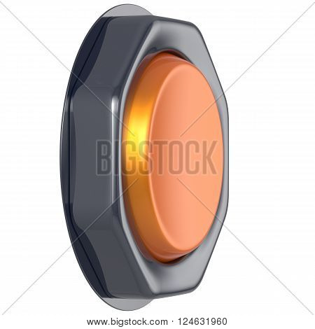 Push down button orange start turn on off action activate switch ignition power electric indicator design element metallic yellow shiny blank led lamp. 3d render