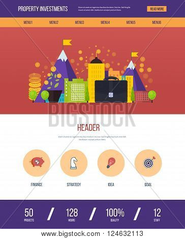 One page web design template with color line icons of property investment. Business development, strategic management, finance, financial strategy concept