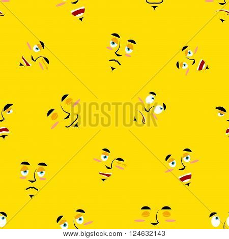 Cartoon Faces Seamless Pattern. Set Of Emotions On Yellow Background. Cheerful Personality And Sad P