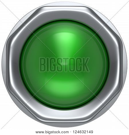 Push button green indicator activate ignition detector lamp start turn off on action power switch electric design element led metallic shiny blank. 3d render