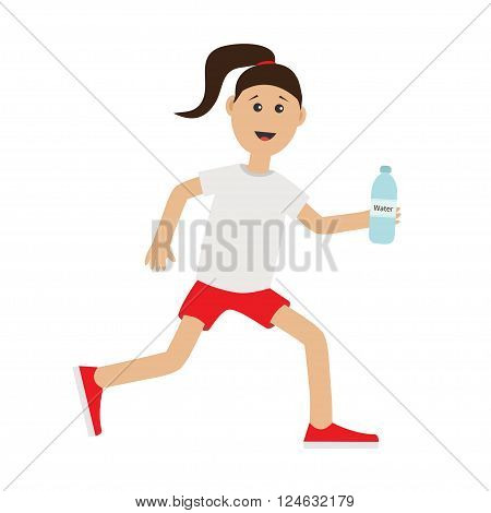 Funny cartoon running girl holding water bottle. Cute run woman Jogging lady Runner Fitness workout running female character Isolated White background. Flat design Vector illustration