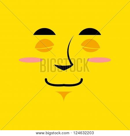 Cartoon cute face an yellow background. Gaiety emotion. Sleeping with broad smile. Cheerful Festive character. soulful personality