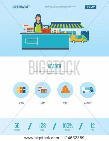 Supermarket store concept with food assortment, opening hours and payment options, delivery icons illustration vector. One page web design template