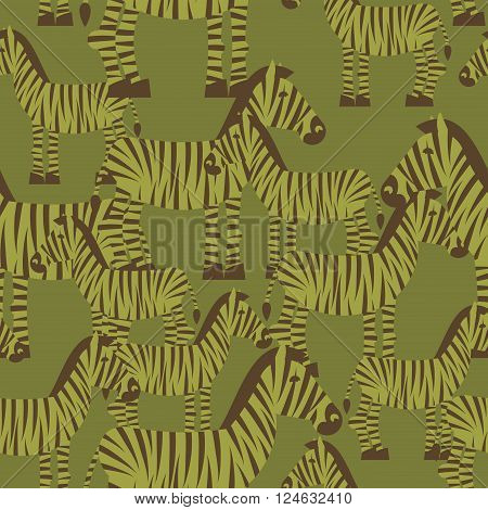 Military Camouflage Background Zebra. Wild Beasts Protective Seamless Pattern. Army Soldier Texture
