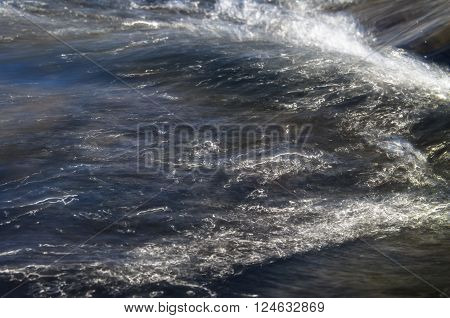 Abstract background of detail of fast-flowing water in pristine mountain stream