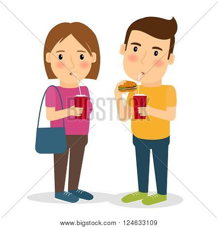 People eat fast food. Man and woman with fast food hamburger and cola vector illustration