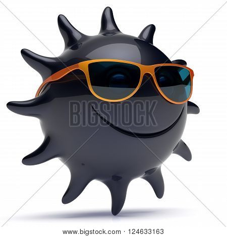 Smiley sun black star face sunglasses cheerful summer smile cartoon ball emoticon happy sunny heat joke person icon. Smiling laughing character holiday chilling sunbathing sunbeam avatar. 3D render
