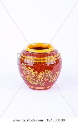 Glazed water jar with dragon pattern from Ratchaburi