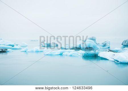 Big Blue Icebergs In Jokulsarlon Glacial Lagoon, South Iceland