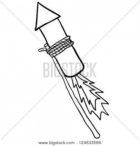 black and white firework rocket cartoon