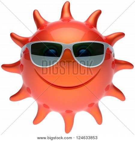 Summer smiley sun face sunglasses cheerful smile cartoon star ball emoticon happy sunny heat red orange person icon. Smiley laughing character holiday chilling sunbathing tropical avatar. 3D render
