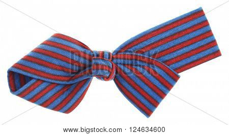 Hair bow tie with dark red maroon and blue stripes