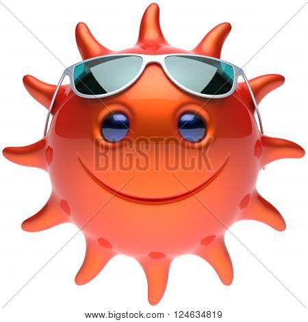 Summer sun smiley face sunglasses cheerful smile cartoon star ball emoticon happy sunny heat red orange person icon. Smiley laughing character holiday chilling sunbathing tropical avatar. 3D render