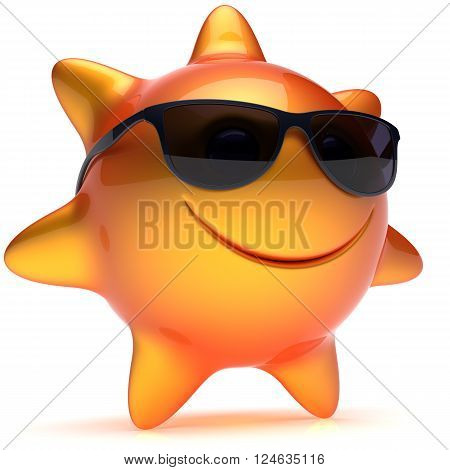 Sun star smiley face sunglasses cheerful summer smile cartoon ball emoticon happy sunny heat orange yellow person icon. Smiling laughing character holiday chilling sunbathing sunbeam avatar. 3D render