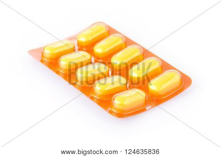 pills of medical isolated on white background