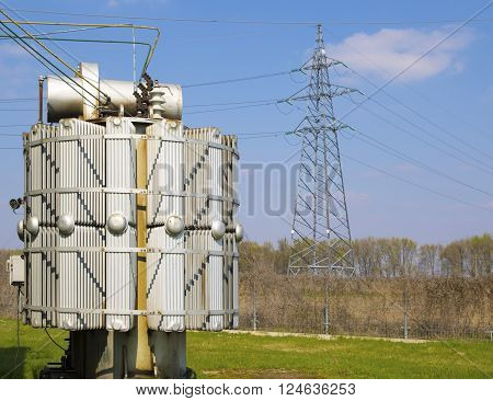High voltage power line and transformers in electrical substation