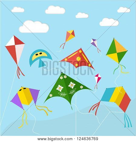 Kite. Sky. Summer. Vector illustration. Freedom. Rainbow.
