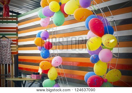 party balloons on a wall