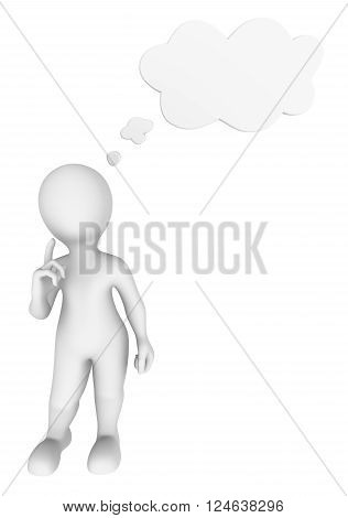 3d man thinking with thought cloud above his head.