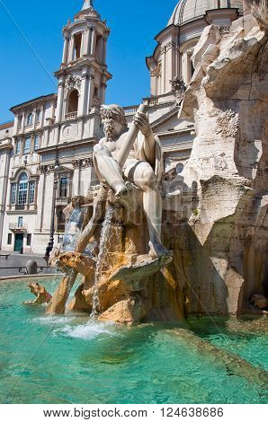 Fountain of the four Rivers with Egyptian obelisk on Piazza Navona in Rome. Italy.