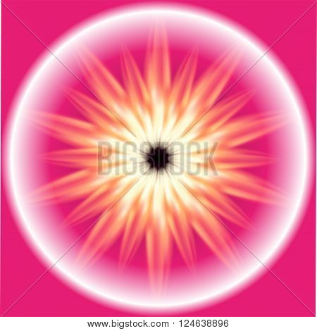 Glossy Ray Burst fire circle pink background