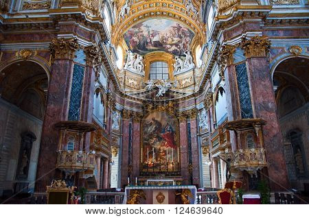 ROME-AUGUST 8: Interior of the Basilica San Carlo al Corso on August 8 2013 in Rome Italy. San Carlo al Corso is a basilica church in Rome Italy facing onto the central part of the Via del Corso.