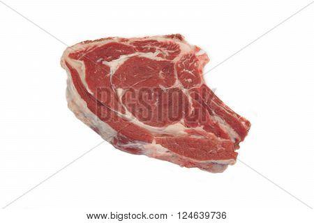 Fresh Raw Ribeye Steak Isolated On White Background
