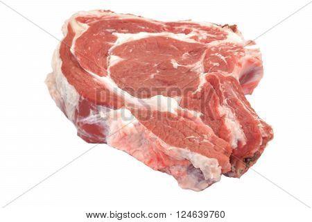 Single Raw Beef Ribeye Steak Isolated On White, Overhead, Closeup