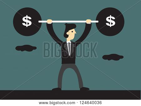 Skinny businessman lifts up heavy barbell with dollar sign. Creative cartoon vector illustration for business financial strength concept.