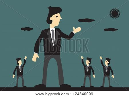 Giant businessman well received by peers. Symbolism for big successful corporation. Creative vector cartoon illustration on business leader concept.