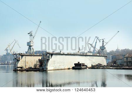 Big cranes in the shipyard