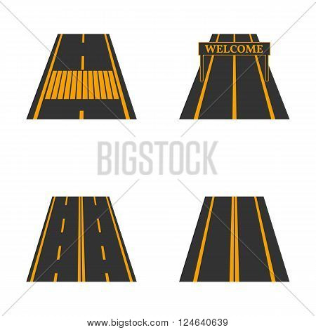 Icons of the road with yellow markings and road signs fourth part vector illustration.