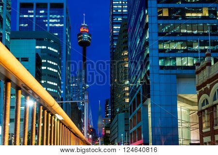 Sydney Australia - November 10 2015: Famous Sydney Tower known as Westfield Tower as well at night. Sydney Tower is Sydney's tallest structure and the second tallest observation tower in the Southern Hemisphere.
