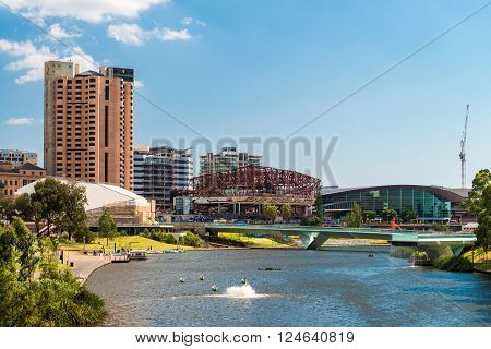 Adelaide Australia - January 3 2016: New Convention Centre construction view from the King William Road bridge across the River Torrens during a day