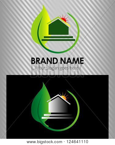 Green leaves house logo. Design concept for real estate agencies, hotels, cottages rent, building.