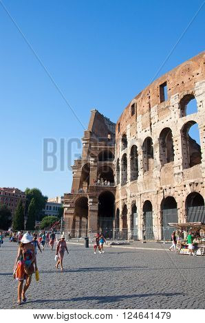 ROME-AUGUST 8: The Colosseum on August 8 2013 in Rome Italy. The Colosseum is an elliptical amphitheatre in the centre of the city of Rome Italy.