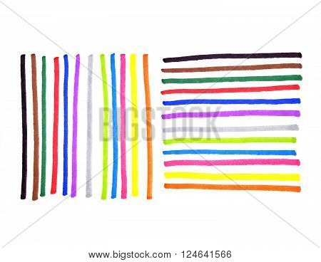 Abstract colorful lines on white background for design